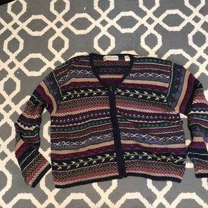Vintage patterned zip up sweater